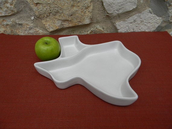 Vintage Frankoma Pottery Texas Chip and Dip Bowl Plate Tray White