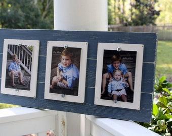 Wood Frame Triple 4x6 Distressed Smokey Blue & White Picture Frame