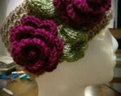 Crochet ear warmer, Crochet headband with magenta flowers
