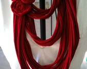 Upcycled RED t-shirt infinity scarf with red flowers