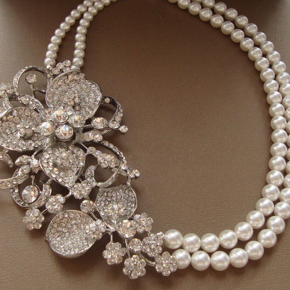Pearl Necklace Styles: FLORA Pearl And Rhinestone Bride Necklace Vintage Style
