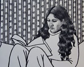 SALE Original etching portrait print, woman reading a book, patterned wallpaper