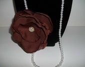 """Large Medium Brown  5"""" Rose Rosette Flower Pearl Necklace with Center Rhinestone Brooch 18"""" Length"""