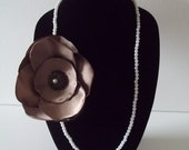 """Large Taupe Brown 5"""" Rose Rosette Flower Pearl Necklace with Center Pearl Brooch 15"""" Length"""
