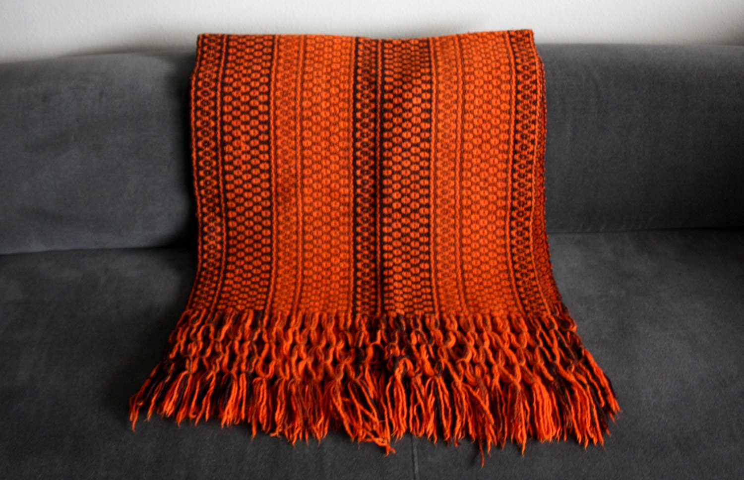 Vintage Burnt Orange Blanket Crocheted Throw Winter