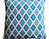CLEARANCE SALE!!!!  Blue and Cream Ikat Pillow Cover - 18 x 18 Decorative Pillow Cover