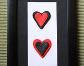 2 Red and Black Heart polmyer clay 4 x 6 wall art