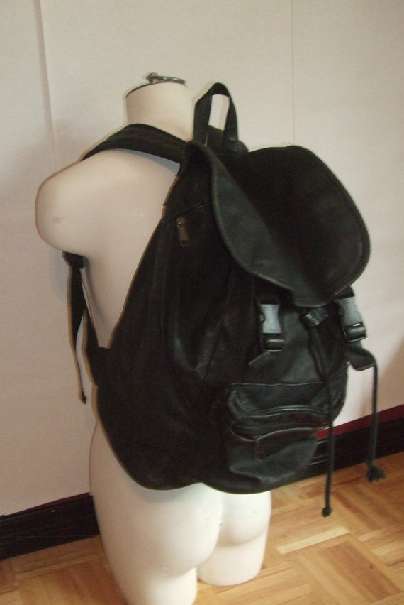Vintage black leather backpack rucksack drawstring distressed 80s