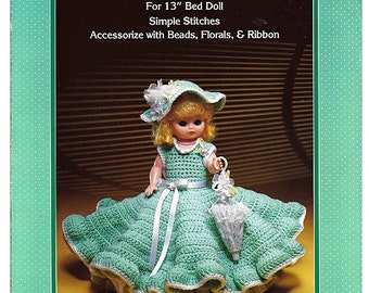 Bridesmaid Gown  Bed Doll Crochet Pattern Fibre Craft FCM146