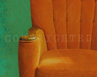 vintage, rustic orange chair, still life photography, green, home decor, art, wall art, retro, orange, chair, grunge