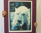 Original color woodblock print - Untitled - Polar Bear - Monochromatic