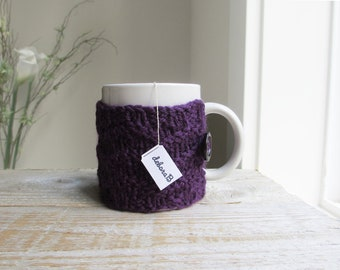Coffee Mug Cozy - Hand Knit Cozy, 100% Wool, Eggplant Purple Plum, Gifts under 20