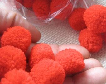 100 Red color-Yarn Pom Poms - pom pom, beads, balls, cotton-handmade, mobile, button,