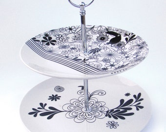 Up cycled serving plate double tier plate  black & white print