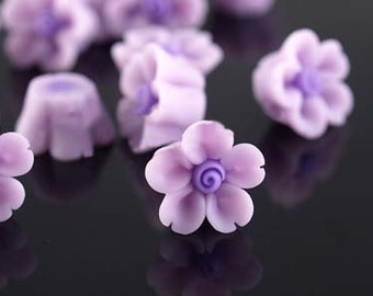 10 pcs 12 mm Polymer Clay Flower Beads FIMO Pendant Charm craft jewelry Necklaces Earrings Bracelet Accessories Purple by sunshinepark99