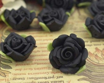 8 pcs18 mm Polymer Clay Flower Beads FIMO Pendant Charm craft jewelry Necklaces Earrings Bracelet Accessories- Black(f105)