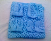 Hand Knitted Blue Baby Bundle