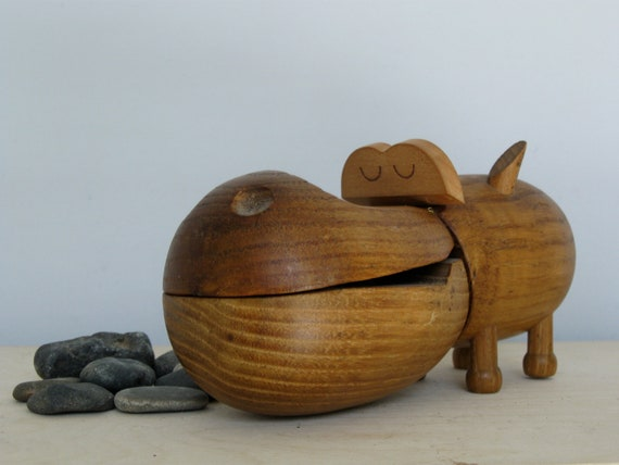 Zoo Line Danish style teak wood hippo box
