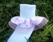 Ruffle Christmas socks - Pink Snowflake and Pink Sheer