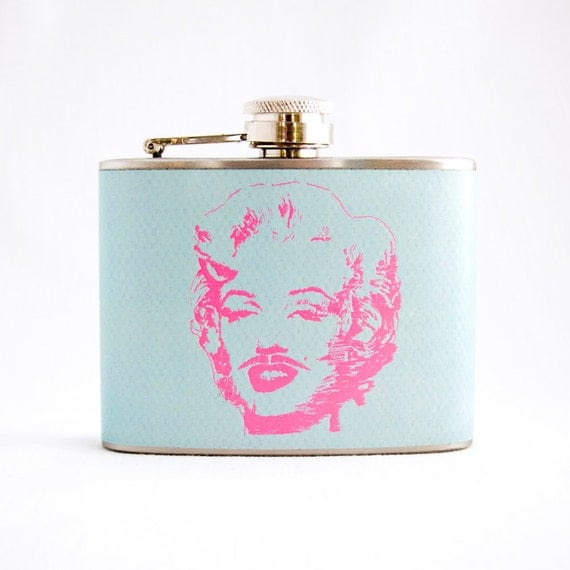 Marilyn Monroe Mustache Flask : Hand Drawn, Rustic, Aqua and Pink, 4 oz Stainless Steel Flask, Velour Bag Included