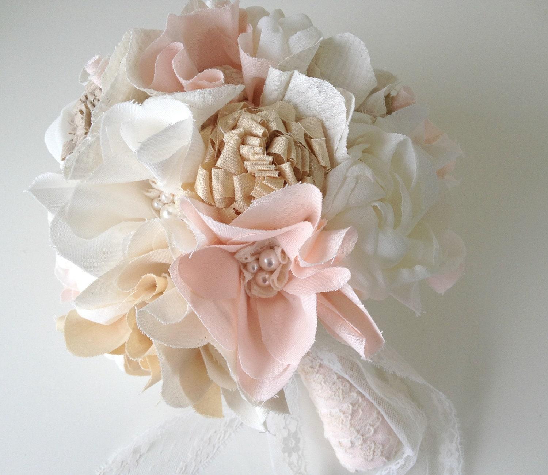 Unique Wedding Bouquets: Unique Bridal Bouquet Fabric Flower Bouquet Rustic By