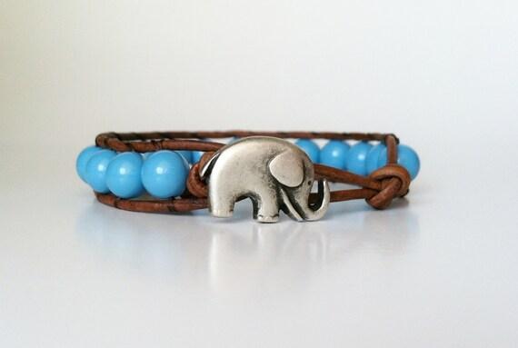 Elephant Leather Wrap Bracelet -  Good Luck Elephant Button - Turquoise