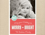 Merry & Bright Christmas Card Holiday Printable 5x7 Printed Card