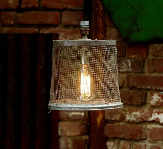 Hanging Light Galvanized: Hanging Industrial Light Vintage Galvanized Wire Minnow
