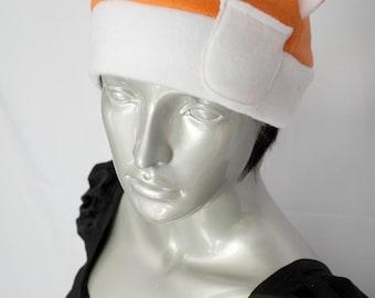Orange and White Cat Fleece Hat