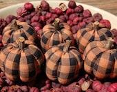 Primitive Halloween Black and Orange Homespun Pumpkin Ornies, Bowl Fillers