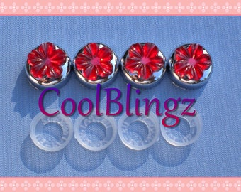 RED FLOWER Rhinestone Screw Caps Covers for Crystal Bling License Plate Frame