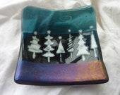 """Striking fused glass bowl """"Christmas Trees"""", 10x10 cm"""