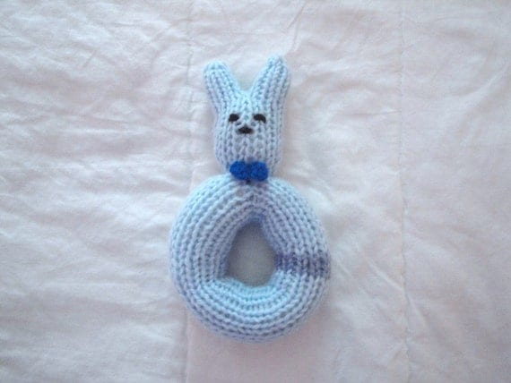 Hand Knit Rattle, Bunny Baby Rattle, Boy Toy Rattle, Bunny in Bowtie