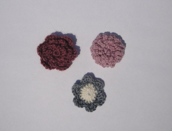 Set of 3 Crochet Regal Flower Lapel Pins or Boutonnieres For Men or Women by Girlpower Accessory Button Flowers