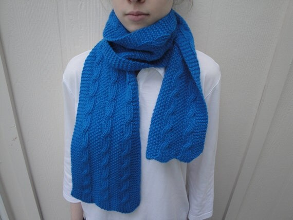 Mens Alpaca Wool Cabled Scarf, Hand Knit, Bright Blue, Luxury Women