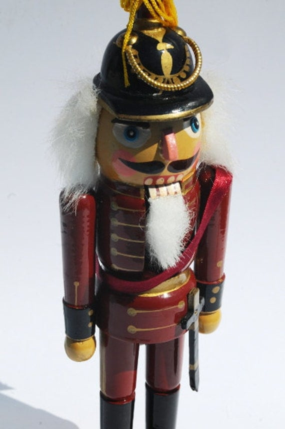 11 inch (28cm) Maroon Red Wooden Nutcracker Toy Vintage Wood Christmas Decor Holiday Decoration