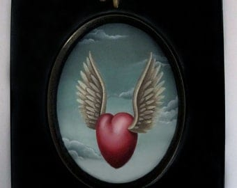 Sandra Hendler Hand Painted Original Miniature Winged Heart Oil Painting In Ebonized Frame