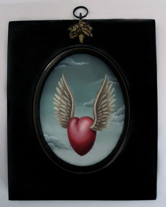 Sandra Hendler Hand Painted Original Miniature Winged Heart Oil Painting In Ebonized Frame