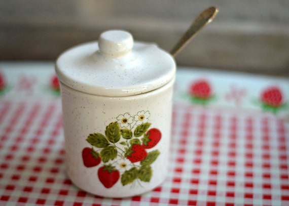 Darling vintage McCoy strawberry sugar pot with lid and jelly spoon - hand stamped