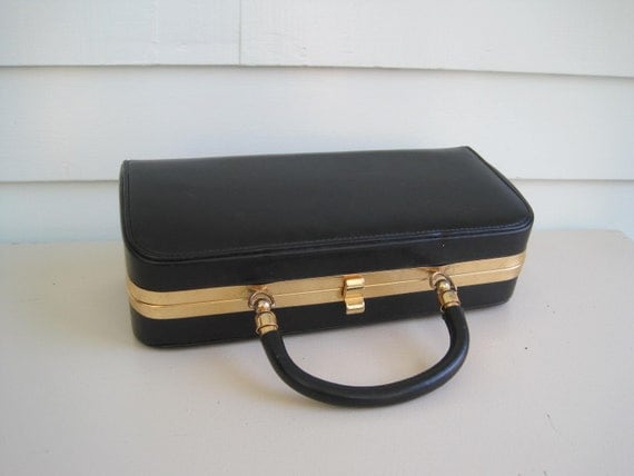 Vintage Box Purse, Black with Gold Hardware, 80s does the 50s, Classic Style Handbag