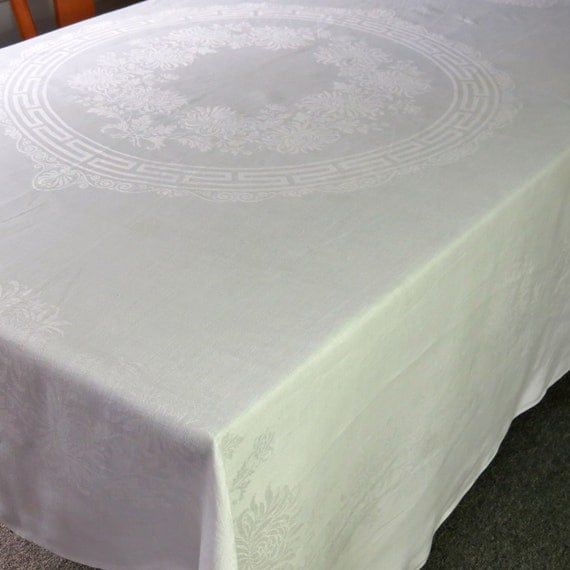 RESERVED for Katherine--Vintage Linen Tablecloth Damask Table Cloth Square