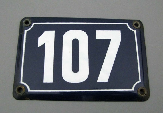Original french house number plate no 107