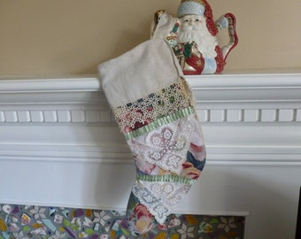 Vintage Barkcloth Christmas Stocking