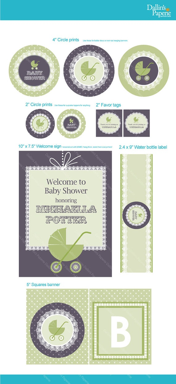 Items similar to lace stroller baby shower decoration full for Baby shower function decoration