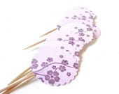 Purple Cupcake Toppers, Cherry Blossom, Pastel, Set of 12