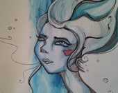 Paint and Ink Girl Underwater Blue Dream Original Fine Art Illustration Print - Your choice of size