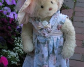 Beautiful Artist-Designed Mohair Teddy Bear Girl with Summer Sunhat and Dress, including 100 Personal Avatar Photos