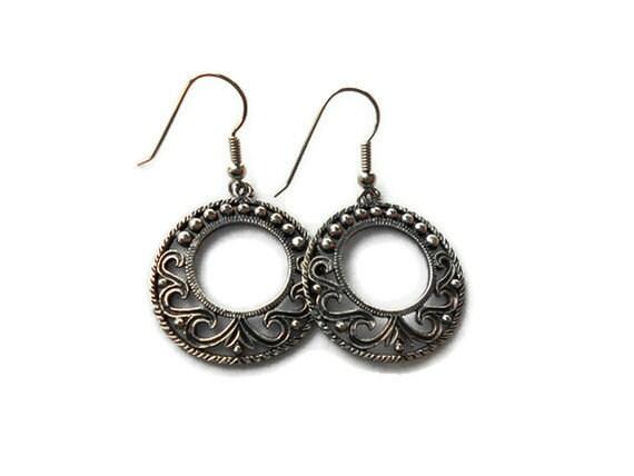 Boho Vintage Pewter Earrings