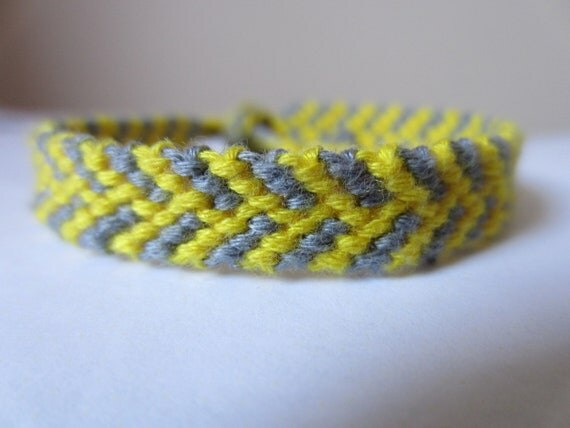 Braided Friendship Bracelet - Yellow & Grey Staggered Chevron