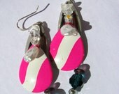 Sterling silver pink daredevil two-tiered earrings with fishing lure - pink blue purple pearl glass - chandelier earrings